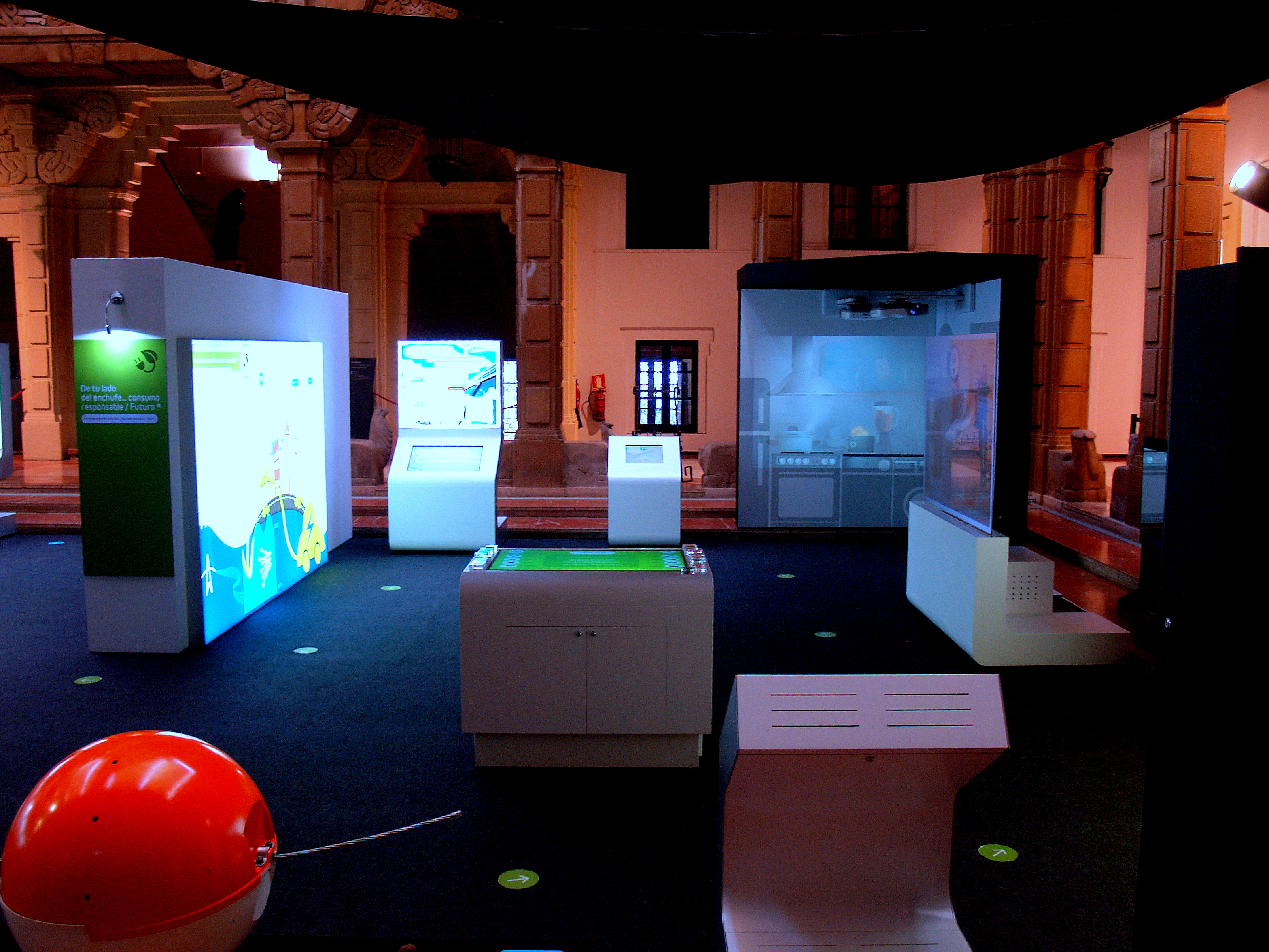Picture of the third section of the exhibition, dedicated to electrical consumption