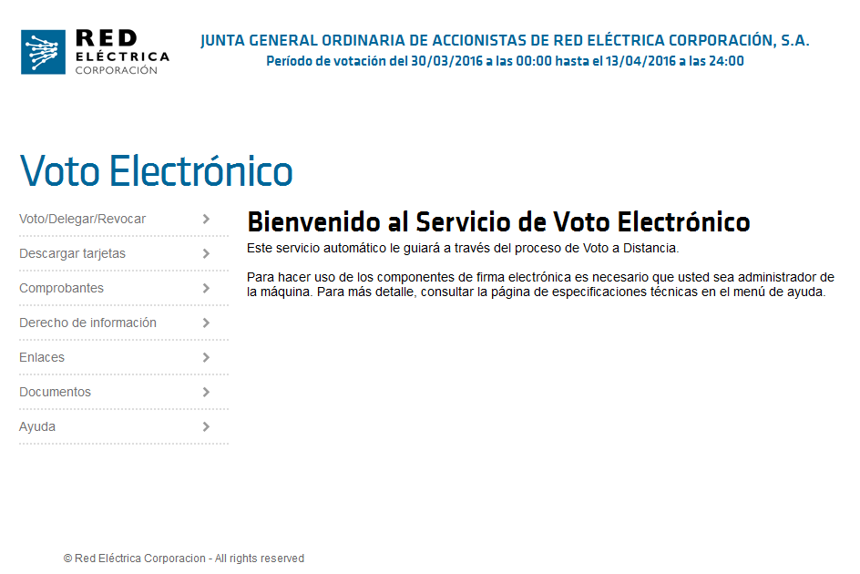 Acceso al sistema de voto electrónico.
