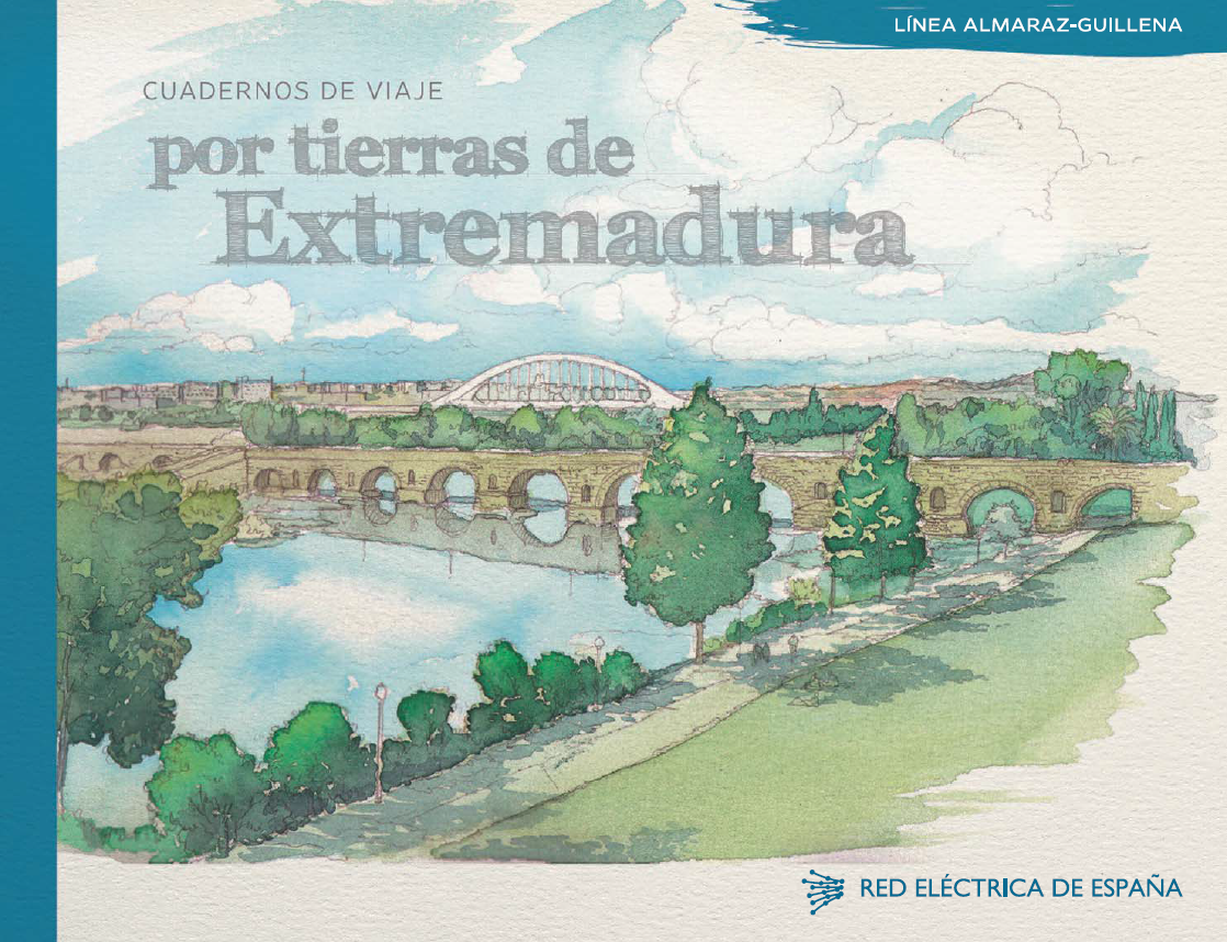 Portada del cuaderno de viaje por tierras de Extremadura. Línea Almaraz-Guillena.
