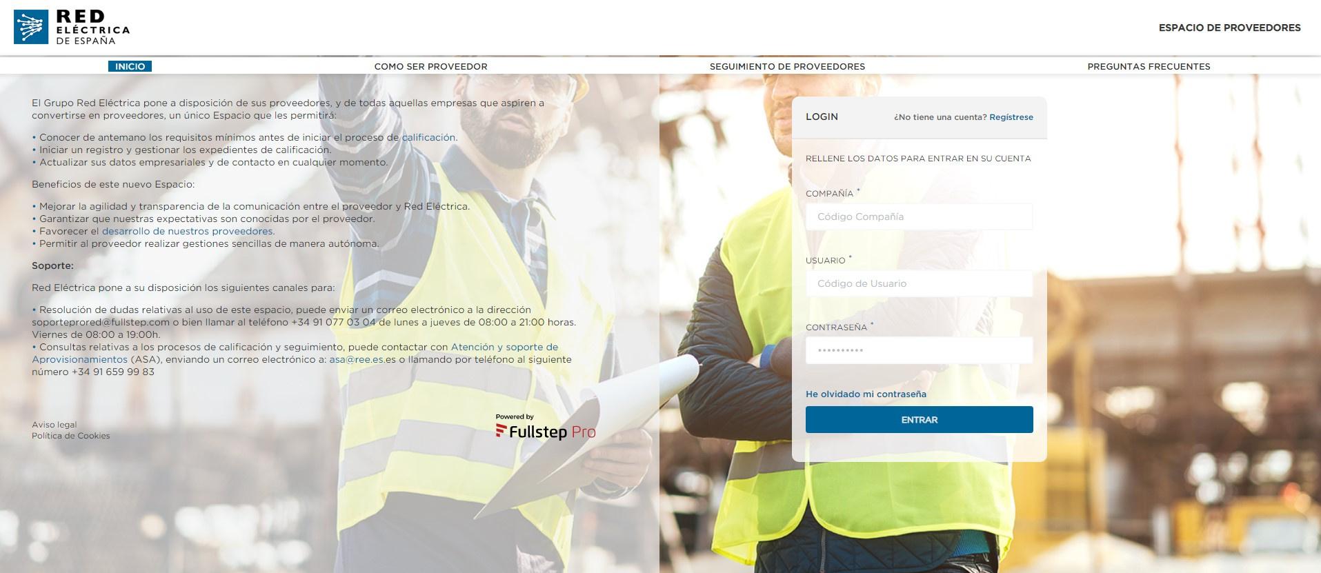 Pantalla del portal de gestión de subcontrataciones para proveedores