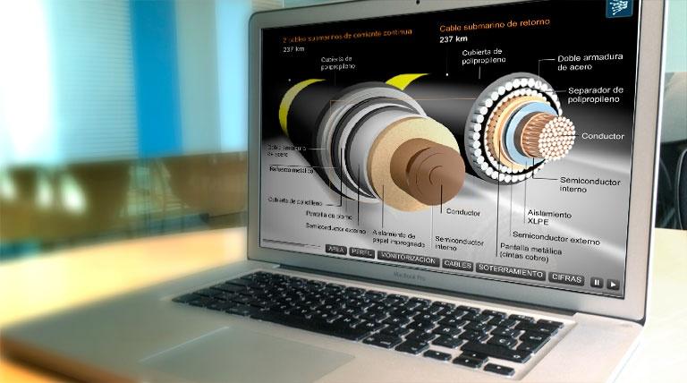 Pantalla de ordenador con 2 cables vistos en detalle