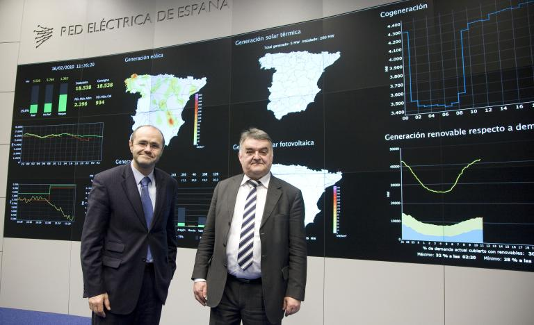 From left to right, the Chairman of Red Eléctrica, Luis Atienza and the Chairman of European Parliament's Committee on Industry, research and Energy, Herbert Reul, during the visit to the control centre of renewable energies