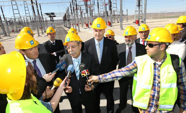 The Chairman of Red Eléctrica, José Folgado, speaks to the press at the Mezquita substation