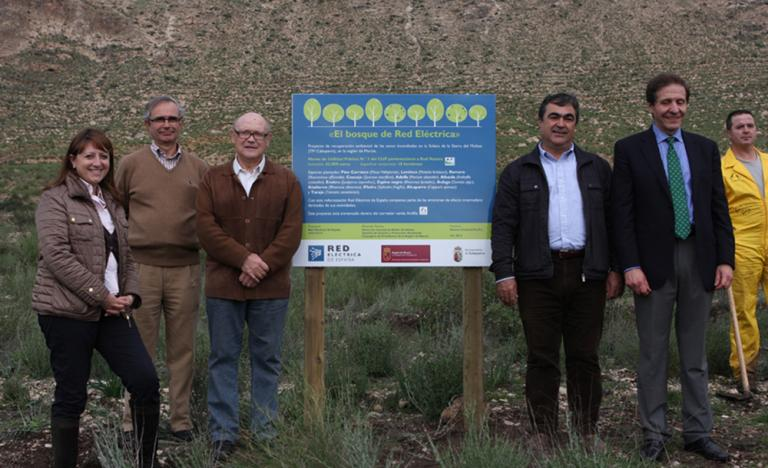 The delegate of Red Eléctrica in levante, Maite Vela; the Environmental Director of Red Eléctrica, Eduardo ramos, and the Director General for the Environment in the Region of Murcia, Amador López, during the visit to the reforestation works in Sierra del Molino