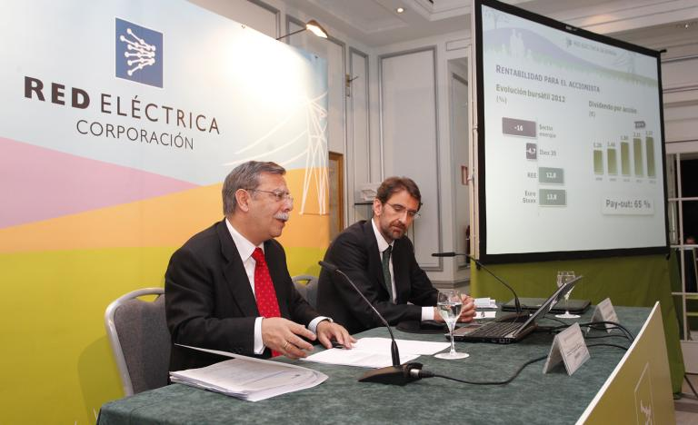 The Chairman, José Folgado, and the Corporate Director of Economics and Finance, Juan Lasala, during the press conference for the Annual General Shareholders' Meeting