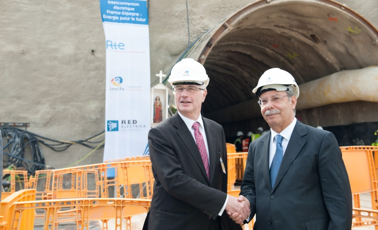 The President of Réseau de Transport d'Electricité, Dominique Maillard, and the Chairman of Red Eléctrica de España, José Folgado, at the tunnel entrance on the French side of the Spain-france elctricity interconnection