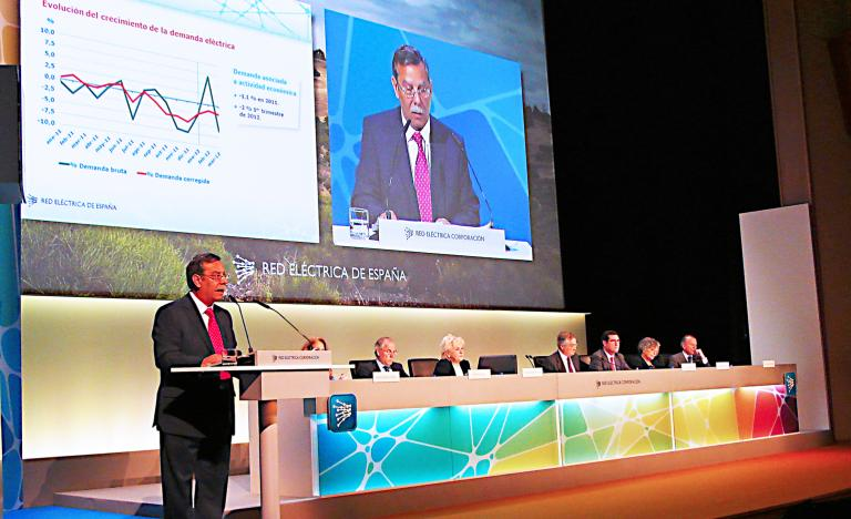 Red Eléctrica's Chairman, José Folgado, during his speech at the general Shareholders' Meeting 2012