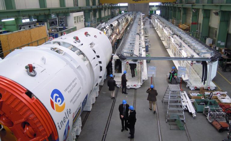 The tunnel boring machine Alberes, that will excavate the tunnel for the electricity interconnexion between Spain and France