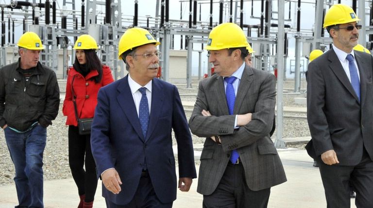 The Chairman of Red Eléctrica de españa, José Folado, and the President of the Government of La Rioja, Pedro Sanz, during the inauguration of El Sequero-Santa Engracia electricity line