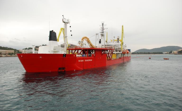 Cable ship, the 'Skagerrak', in Santa Ponsa Bay in Mallorca