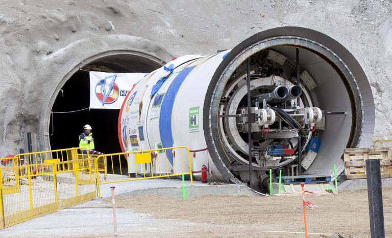 The tunnel boring machine 'Alberes' already in La Junquera ready to start excavating the tunnel for the interconnection with France