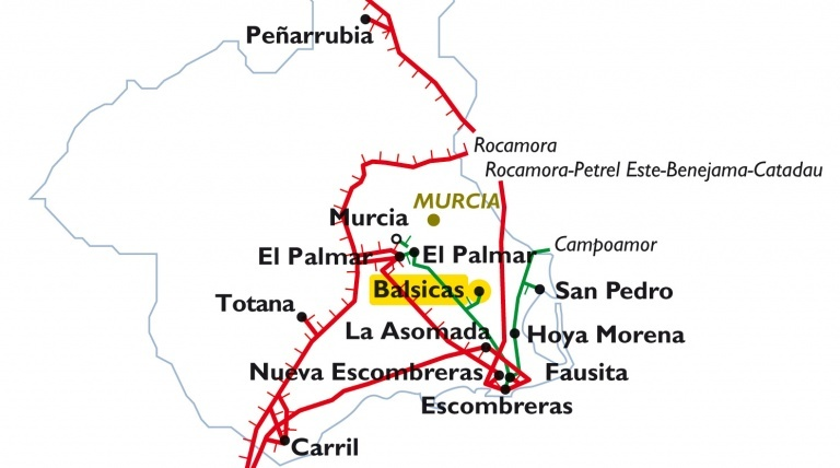 Electricity transmission grid in the region of Murcia.