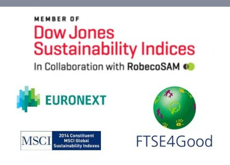 Menber of Dow Jones Sustainability Indices in collaboration with RobecoSAM. FTSE4Good Sustainability Indices. Euronext vigeo. MSCI 2014 constituent MSCI Global Sustainability Indexes.