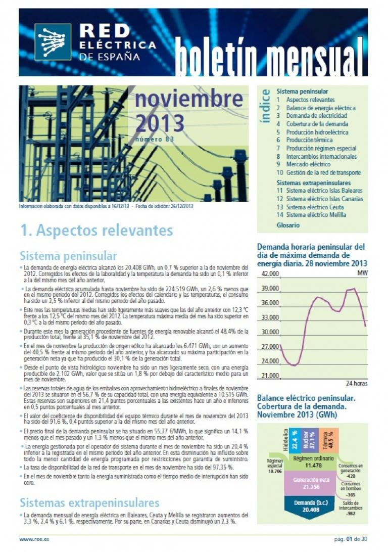 Portada del Boletín mensual. Noviembre 2013. Número 83.