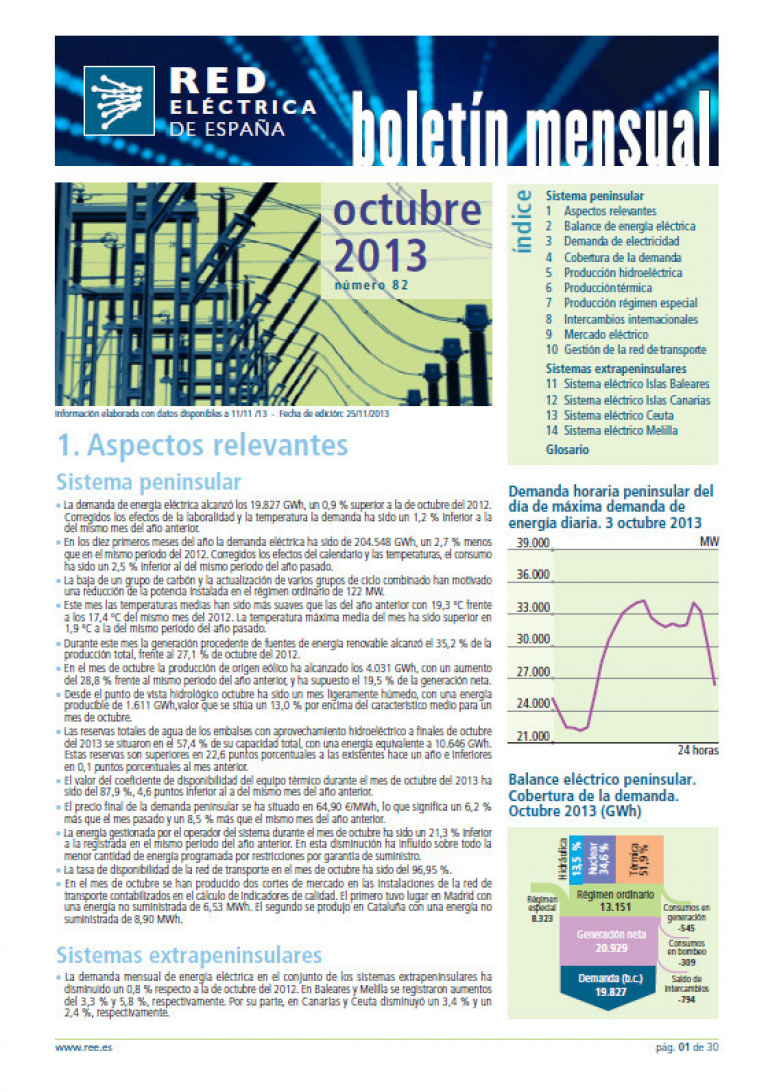 Portada del Boletín mensual. Octubre 2013. Número 82.