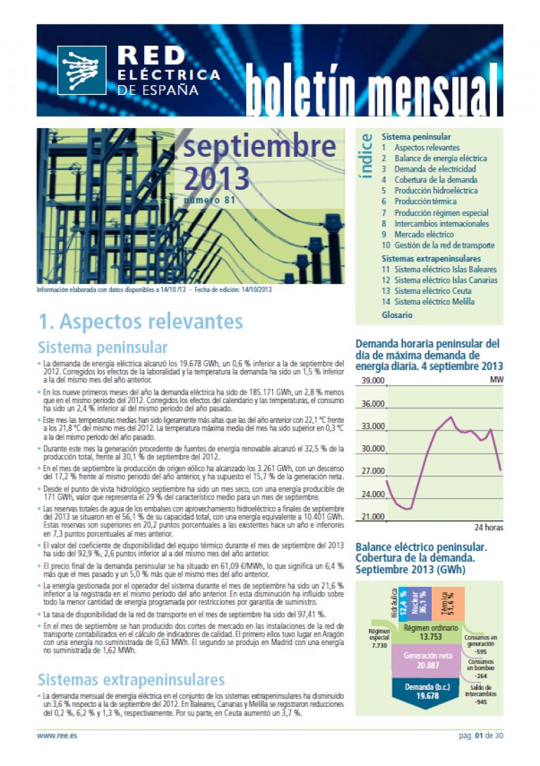 Portada del Boletín mensual. Septiembre 2013. Número 81.