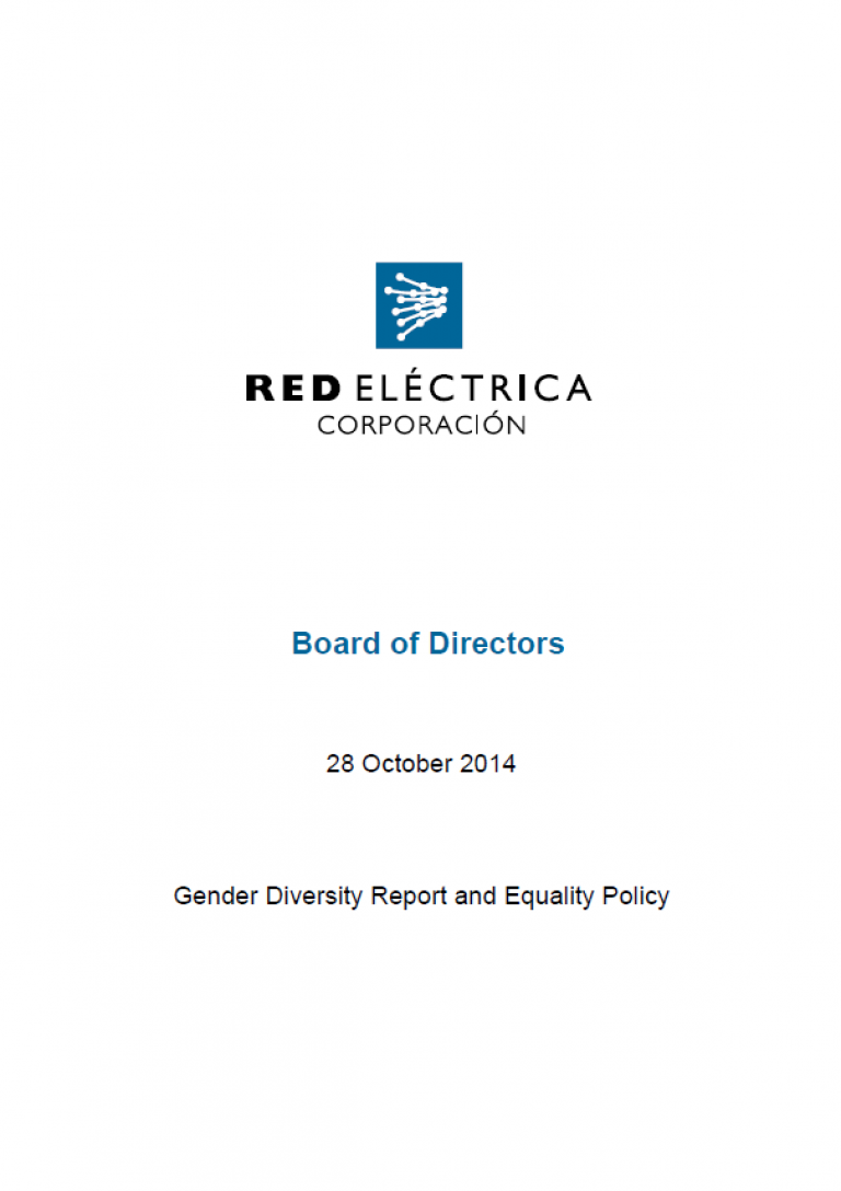 Cover of Gender Diversity Report and Equality Policy 2014
