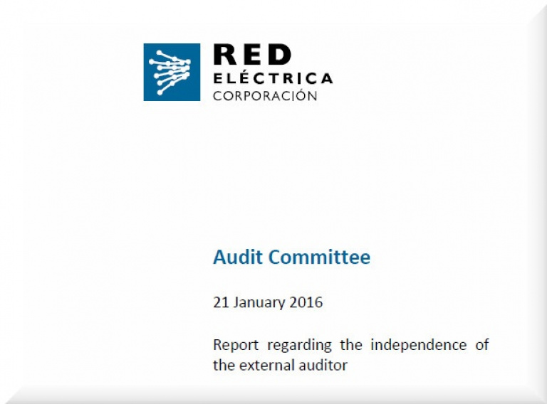Cover of Report regarding the independence of the external auditor 2015