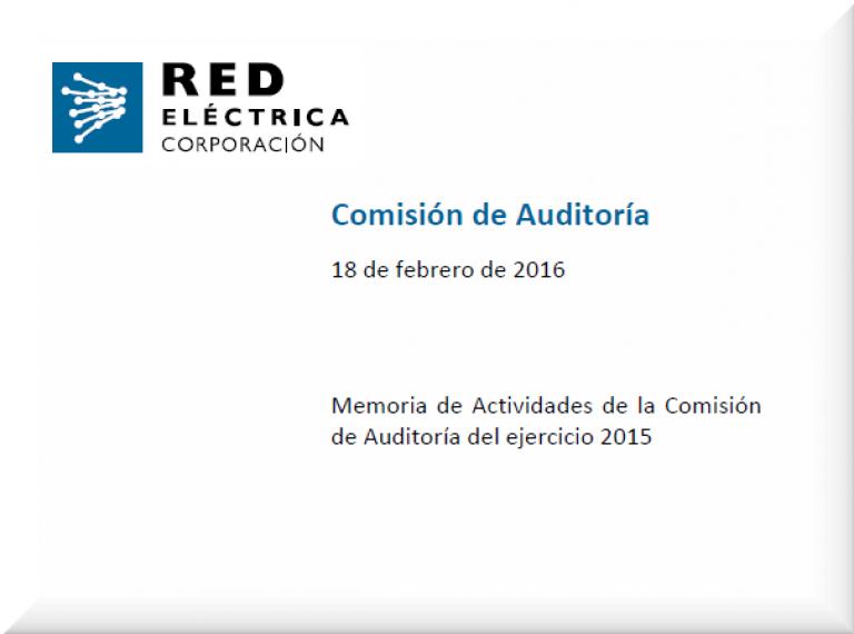 Portada Memoria de Actividades de la Comisión de Auditoría del ejercicio 2015