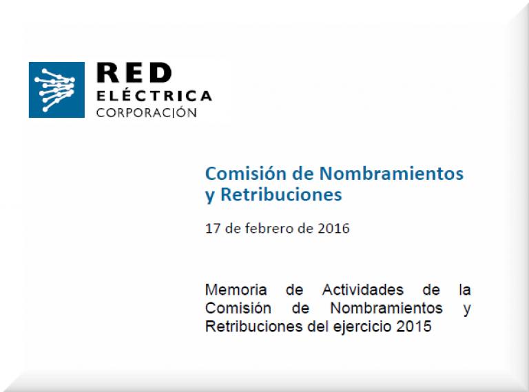 Portada Memoria de Actividades de la Comisión de Nombramientos y Retribuciones del ejercicio 2015