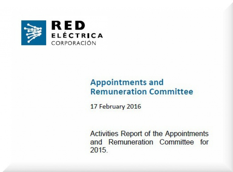 Cover of Activities Report of the Appointments and Remuneration Committee for 2015.