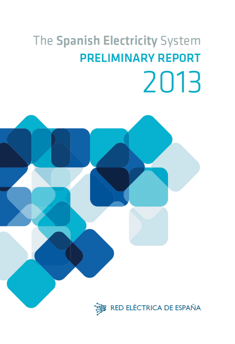 Cover of The Spanish Electricity System. Preliminary Report 2013.