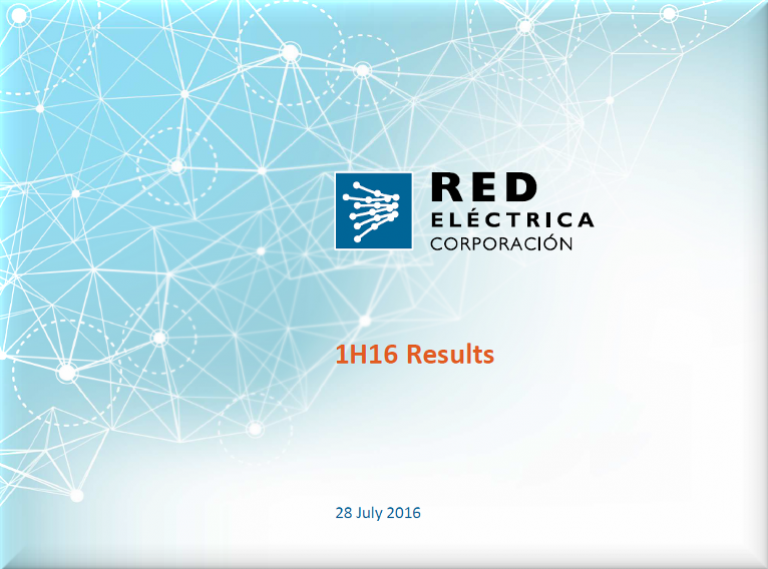 Cover of 1H16 Results Presentation