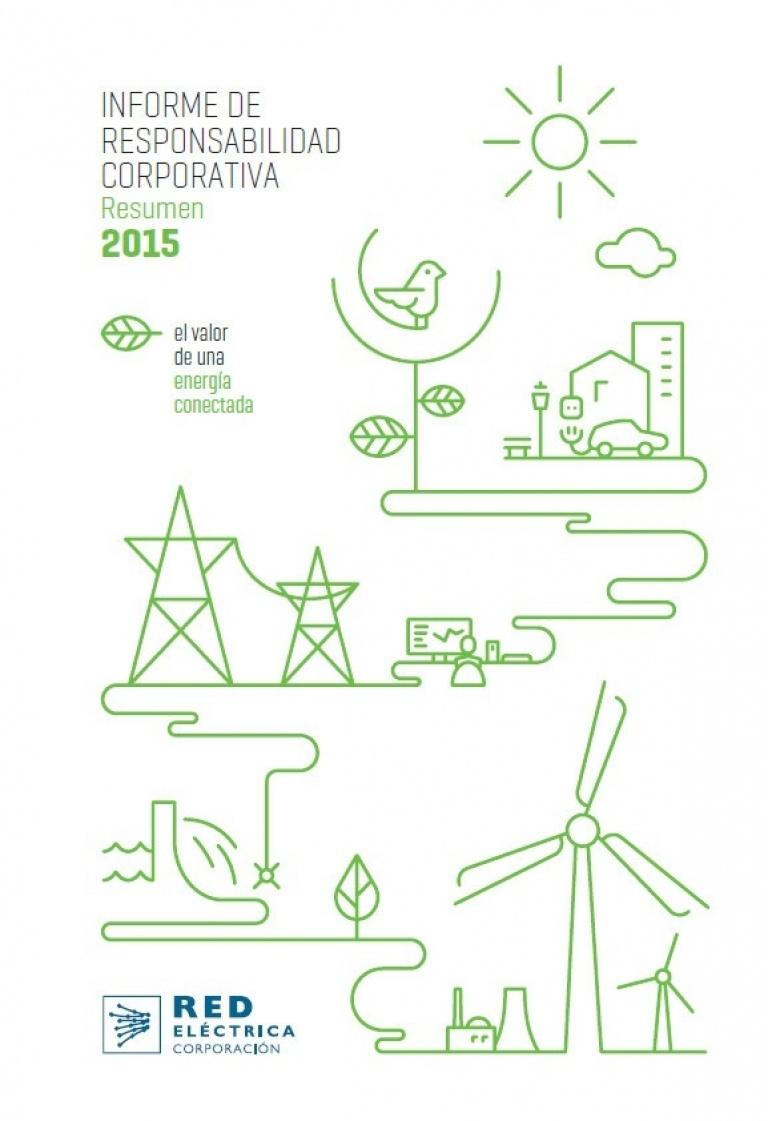 Portada del Informe de responsabilidad corporativa. Resumen 2015.