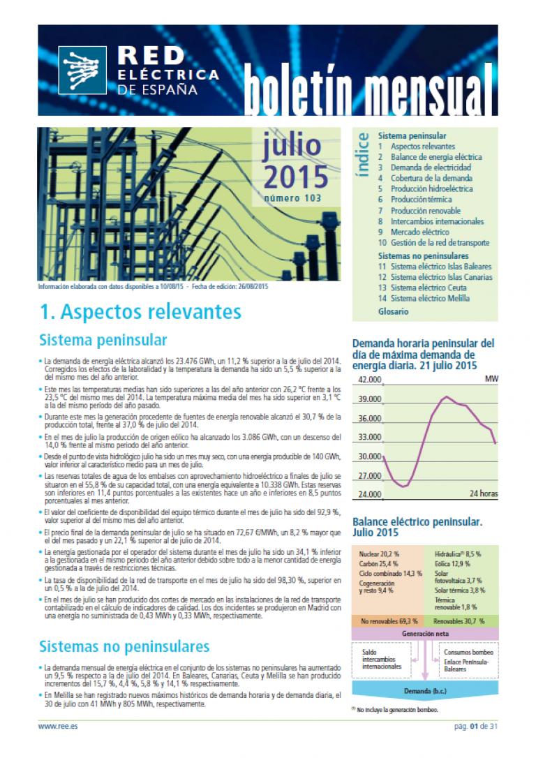 Portada del Boletín mensual. Julio 2015. Número 103.