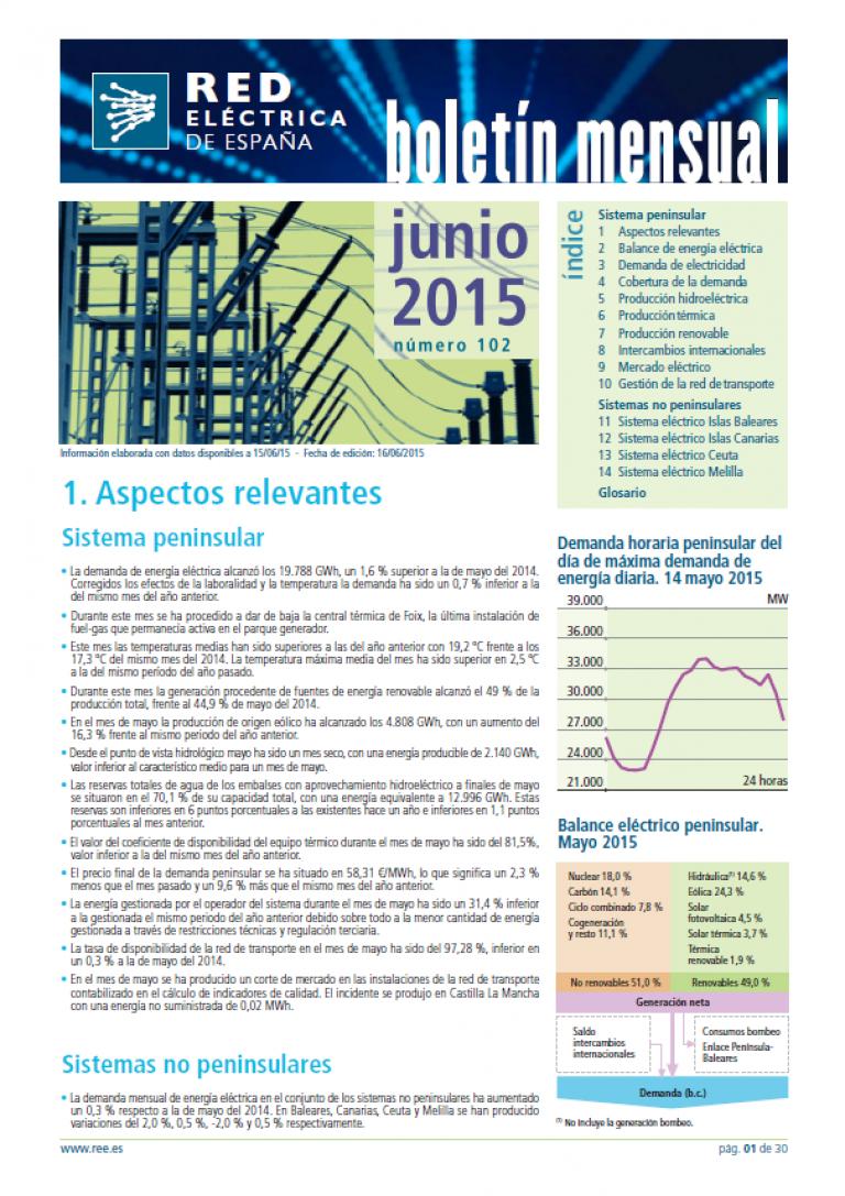 Portada del Boletín mensual. Junio 2015. Número 102.