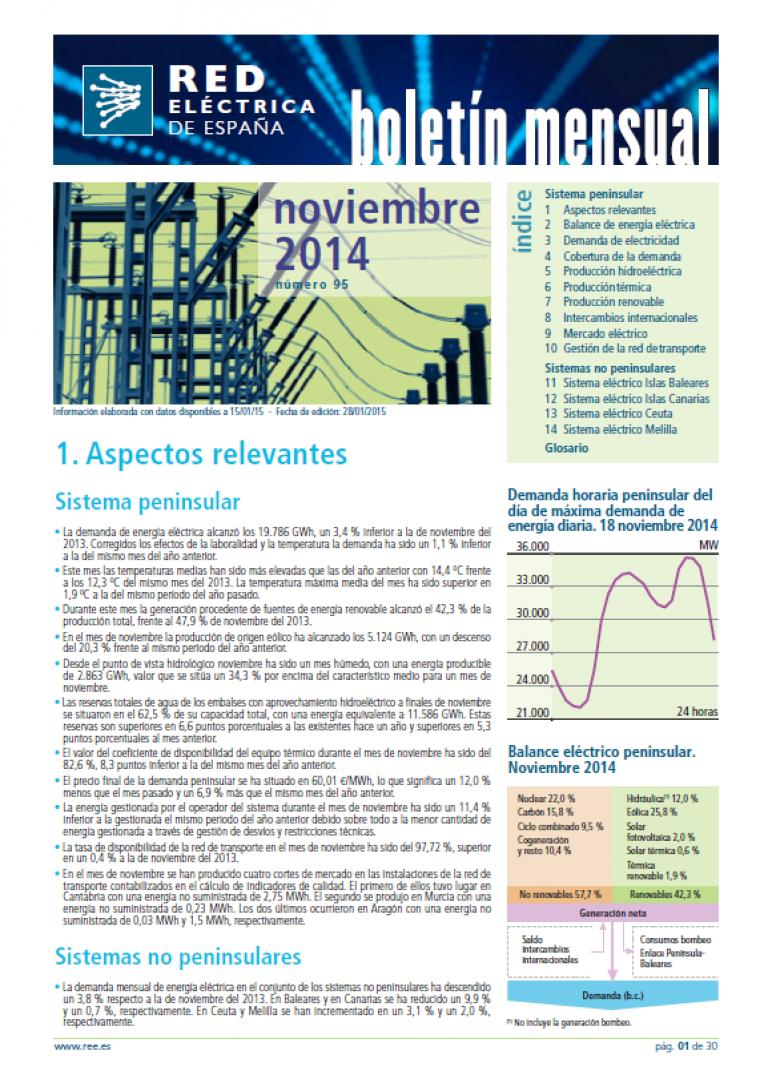 Portada del Boletín mensual. Noviembre 2014. Número 95.