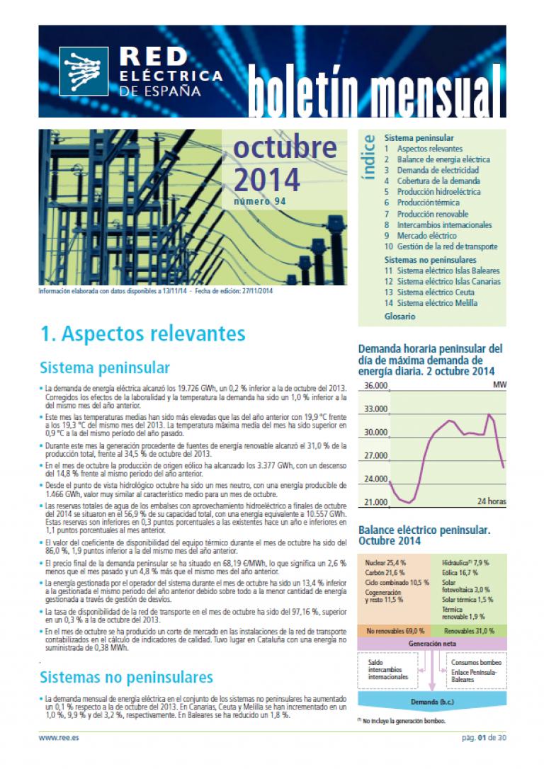 Portada del Boletín mensual. Octubre 2014. Número 94.
