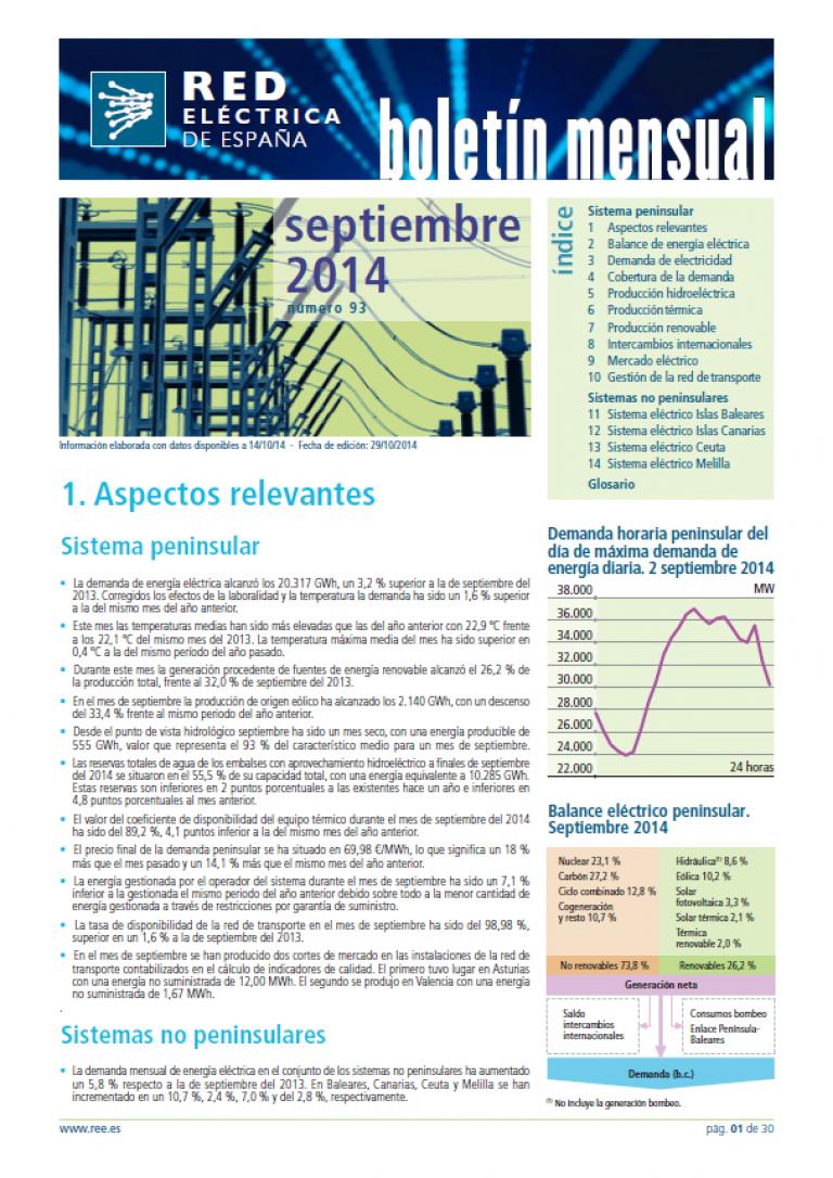 Portada del Boletín mensual. Septiembre 2014. Número 93.
