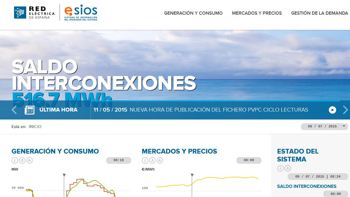 Bienvenido | ESIOS, la web del operador del sistema